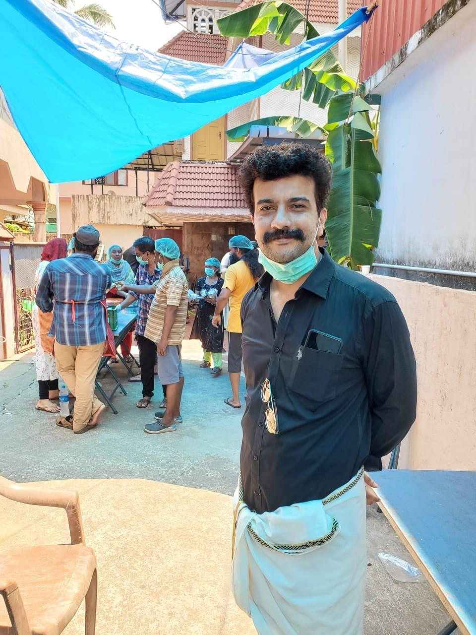 Actor Ramesh Pisharody at the kitchen community run by film fraternity in Kochi