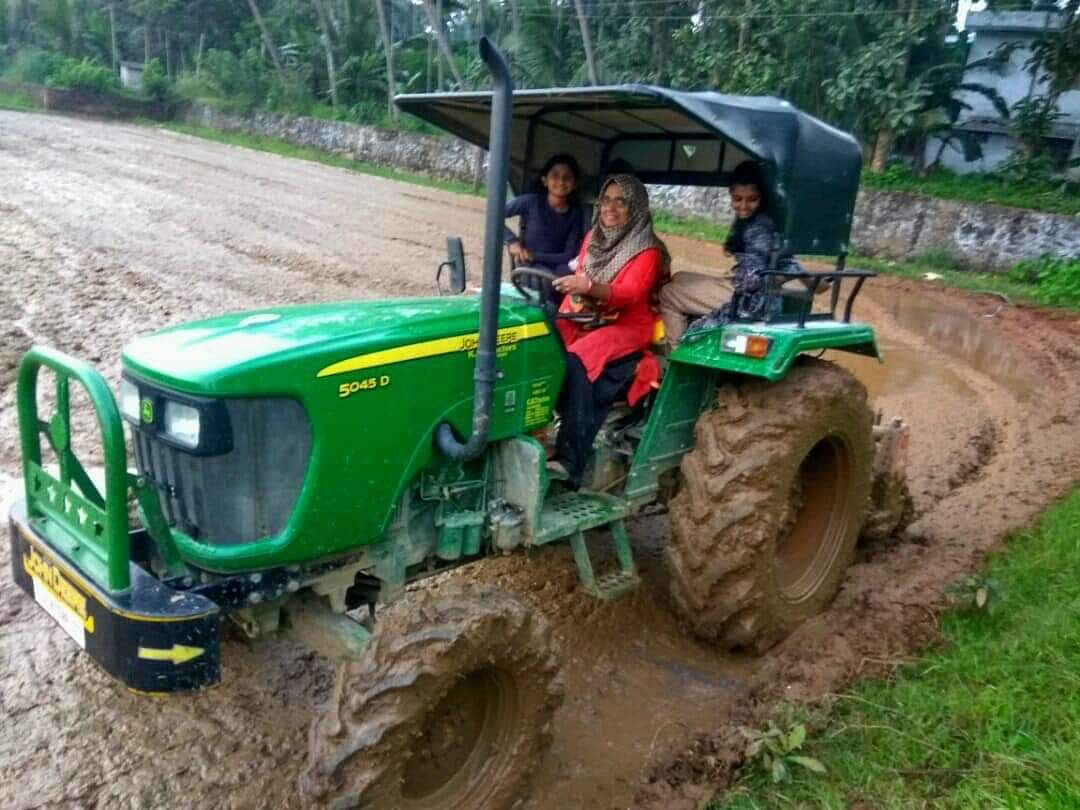 Seenath Kokkoor tilling the paddy field. Malappuram based Penmitra had grown paddy in five acres of land which was lying fallow for long