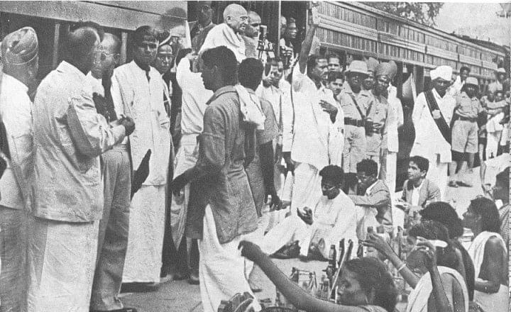 Gandhi at Madras railway station